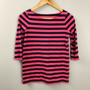 Lilly Pulitzer Pink Navy Striped 3/4 Sleeve Tee